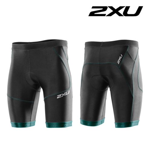 "아울렛 2XU(투엑스유) 철인3종 경기복  2XU Men's Perform 9"" Tri Short (MT2704b) Black Lagoon"