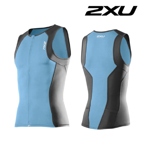 아울렛 2XU(투엑스유)철인3종 경기복  2XU Men's G:2 Active Tri Singlet (MT3107a) Amalfi Charcoal