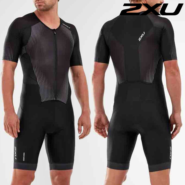 2XU 남성 철인3종 경기복 원피스 Men's Perform Full Zip Sleeved Trisuit MT5525d BLK SDW