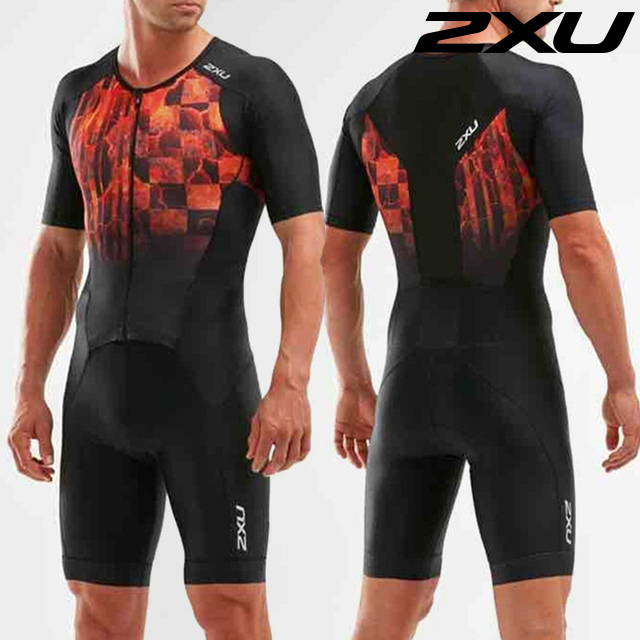 2XU 남성 철인3종 경기복 원피스 Men's Perform Full Zip Sleeved Trisuit MT5525d BLK/FOM