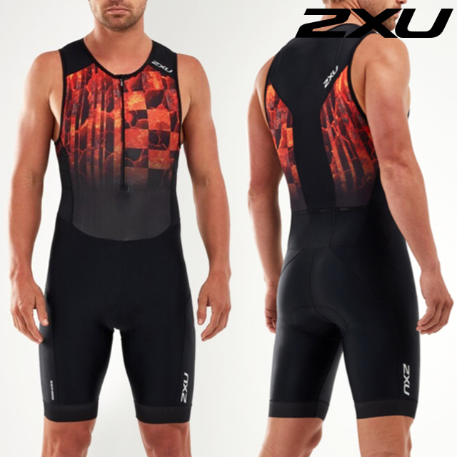2XU 남성 철인3종 경기복 원피스 Men's Perform Front Zip Trisuit MT5526d BLK/FOM