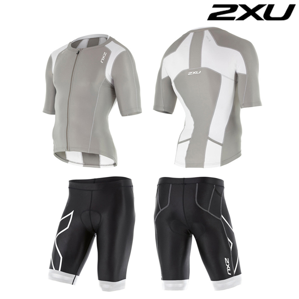 2XU(투엑스유)철인3종 경기복 Man's Compression Sleeved Tri Set-MT4439a(FRG_WHT)