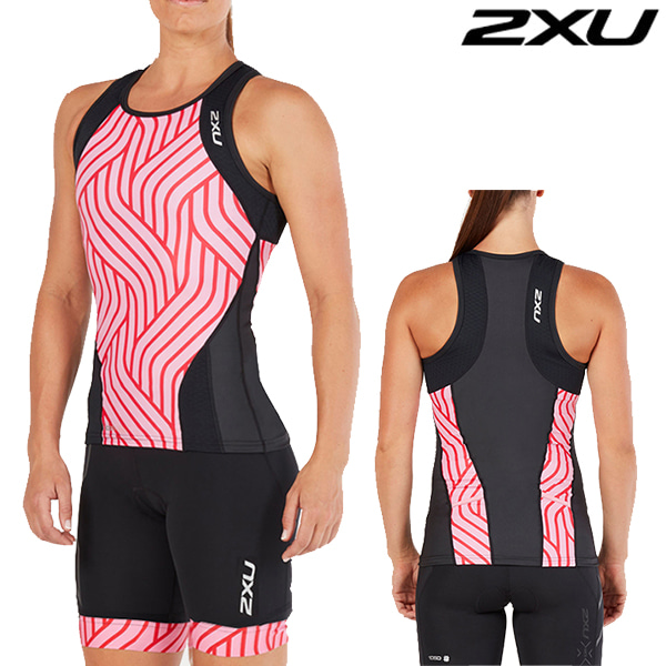 아울렛 2XU 철인3종 경기복 Women's Perform Tri Set WT4857a/WT4861b(Black/Rose Pink Tide)