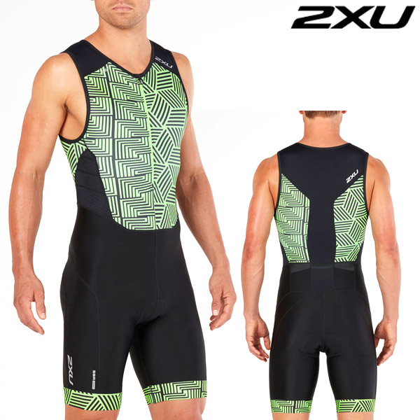 2XU 철인3종 경기복(원피스타입) Men's Perform Front Zip TriSuit Black/Geo Neon Green MT4848d