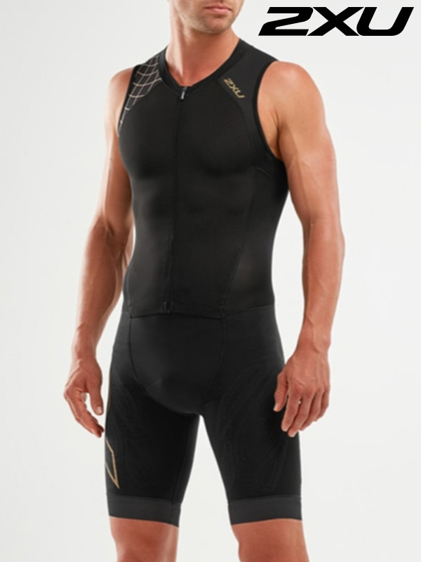2XU 남성 철인3종 경기복 원피스 Men's Compression Full Zip Trisuit MT5517d BLK GLD