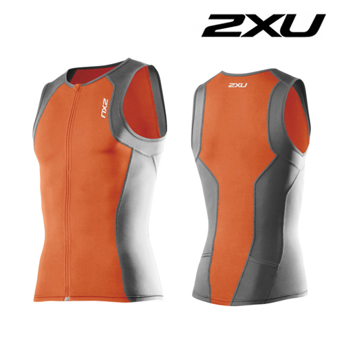 아울렛 2XU(투엑스유)철인3종 경기복  2XU Men's G:2 Active Tri Singlet (MT3107a) Orange Charcoal